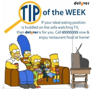 Tip of the week: Have restaurant food while watching tv